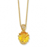 Gold-plated Sterling Silver 100-facet Yellow & White CZ 18in Necklace chain