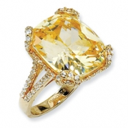 Gold-plated Sterling Silver Champ/Wht CZ Ring