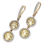 Gold-plated Sterling Silver Checker Canary CZ 2-stone Wire Earrings