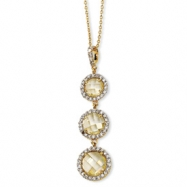 Gold-plated Sterling Silver Chkr-cut Canary CZ 3-stone 18in Necklace chain