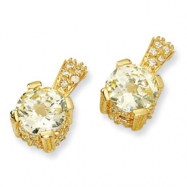 Gold-plated Sterling Silver Canary & White CZ Post Earrings