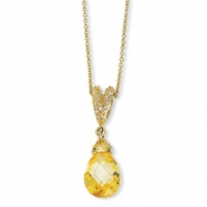 Gold-plated Sterling Silver Teardrop Canary CZ 18in Necklace chain
