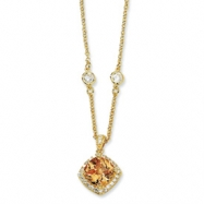 Gold-plated Sterling Silver Rose-cut Champ CZ Square 18in Necklace chain