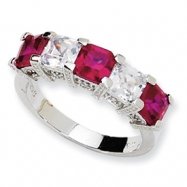 Sterling Silver Asscher-cut Synthetic Ruby/CZ 5-stone Ring