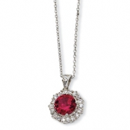 Sterling Silver Synthetic Ruby & CZ 18in Necklace chain