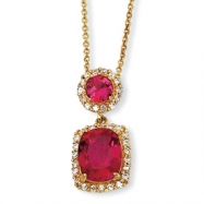 Gold-plated Sterling Silver Synthetic Ruby & CZ 18in Necklace chain