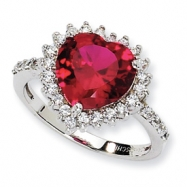 Sterling Silver 100-facet Synthetic Ruby & CZ Heart Ring