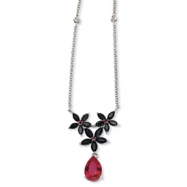 Sterling Silver Synth Ruby/Blk CZ Floral 18in Necklace chain
