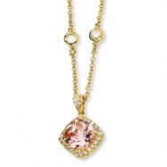 Gold-plated Sterling Silver Rose-cut Pink CZ Square 18in Necklace chain