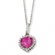 Sterling Silver 100-facet Heart Synth Pink Sapph/CZ 18in Necklace chain