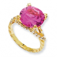Gold-plated Sterling Silver Synthetic Pink Sapphire & CZ Ring