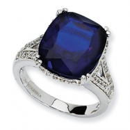 Sterling Silver Synthetic Sapphire & CZ Ring
