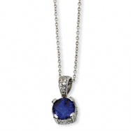 Sterling Silver Rose-cut Synthetic Sapphire & CZ 18in Necklace chain