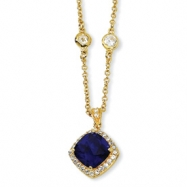 Gold-plated Sterling Silver Rose-cut Synth Sapphire/CZ 18in Necklace chain