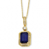 Gold-plated Sterling Silver Synthetic Sapphire & CZ 18in Necklace chain