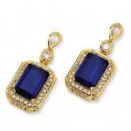 Gold-plated Sterling Silver Synth.Sapphire & CZ Dangle Post Earrings