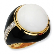 Gold-plated Sterling Silver Blk Enam Simulated Wht Agate & CZ Ring