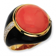 Gold-plated Sterling Silver Blk Enam Simulated Red Coral & CZ Ring