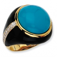 Gold-plated Sterling Silver Blk Enam Simulated Turquoise & CZ Ring