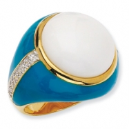 Gold-plated Sterling Silver Blue Enam Simul. Wht Agate & CZ Ring