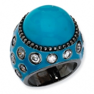 Black-plated Sterling Silver Enameled Simulated Turquoise & CZ Ring