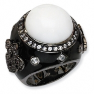 Black-plated Sterling Silver Enamel Simulated White Agate & CZ Ring