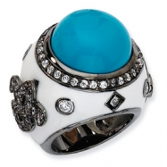 Black-plated Sterling Silver Enamel Simulated Turquoise & CZ Ring