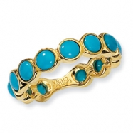 Gold-plated Sterling Silver Simulated Turquoise Ring