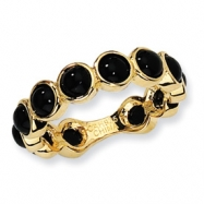 Gold-plated Sterling Silver Simulated Onyx Ring