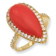 Gold-plated Sterling Silver Simulated Red Coral & CZ Ring