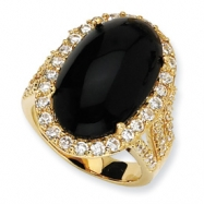 Gold-plated Sterling Silver Simulated Onyx Cabochon & CZ Ring