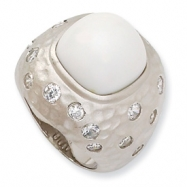 Sterling Silver Satin Simulated White Agate & CZ Ring