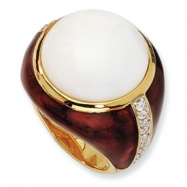 Gold-plated Sterling Silver Brn Enam Simulated Wht Agate & CZ Ring
