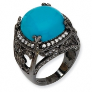 Black-plated Sterling Silver Simulated Turquoise & CZ Ring