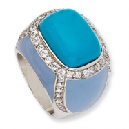 Sterling Silver Enameled Simulated Turquoise & CZ Ring