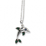 Sterling Silver CZ Dolphin 18in Necklace chain