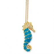 Gold-plated Sterling Silver Enameled CZ Seahorse 18in Necklace chain