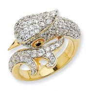 Gold-plated Sterling Silver CZ Cockatoo Ring