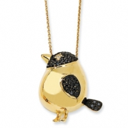 Gold-plated Sterling Silver Black CZ Bird 18in Necklace chain