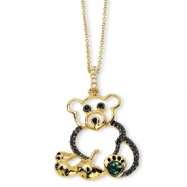 Gold-plated Sterling Silver Black Enameled CZ Teddy Bear 18in Necklace chain