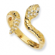 Gold-plated Sterling Silver CZ Snake Ring