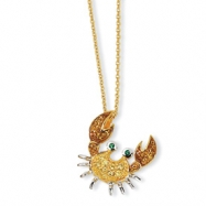 Gold-plated Sterling Silver CZ & Sim. Emerald Crab 18in Necklace chain
