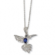 Sterling Silver CZ & Synthetic Sapphire Hummingbird 18in Necklace chain