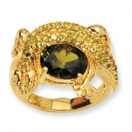 Gold-plated Sterling Silver Green CZ Lizard Ring