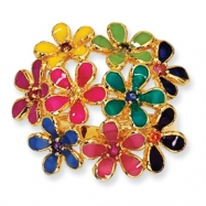 Gold-plated Sterling Silver Enameled CZ Flowers Ring