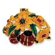 Gold-plated Sterling Silver Enameled Olive CZ Floral/Ladybug Ring