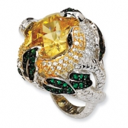 Sterling Silver Canary CZ & Glass Snake Ring