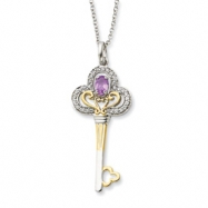 Sterling Silver & Gold-plated June CZ Birthstone Key 18in Necklace