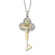 Sterling Silver & Gold-plated Aug. CZ Birthstone Key 18in Necklace