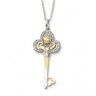 Sterling Silver & Gold-plated Nov. CZ Birthstone Key 18in Necklace